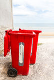Large red trash can Royalty Free Stock Images