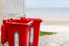 Large red trash can Stock Photo