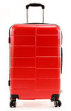 Large red travel suitcase on white Stock Photo