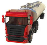 Large red truck tanker with a polished metal trailer. Views from all sides. 3d illustration. Large red truck tanker with a polished metal trailer. Views from Royalty Free Stock Images
