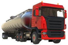 Large red truck tanker with a polished metal trailer. Views from all sides. 3d illustration. Royalty Free Stock Photos