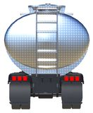 Large red truck tanker with a polished metal trailer. Views from all sides. 3d illustration. Large red truck tanker with a polished metal trailer. Views from Stock Image