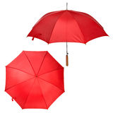 Large red umbrella. Two views of large red umbrella isolated on white Royalty Free Stock Photography