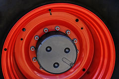 Large red wheel rim -1 Royalty Free Stock Photo