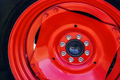 Large red wheel rim -2 Stock Images