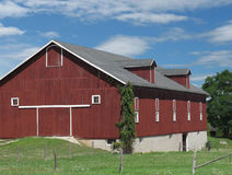 Large red wooden farm barn. Royalty Free Stock Photography