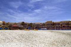Large Resort on the Beach. A view of a hotel resort along the beach Royalty Free Stock Photography