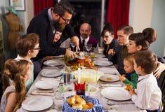 Large Retro Family Thanksgiving Dinner Turkey Stock Photo