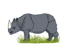 Large rhino. Ceros bull in the grass, cartoon art Stock Images