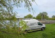 British Environment Agency vehicle seen near a riverbank system in the eats of England. This large river system is prone to flooding, the view shows not only Royalty Free Stock Photos