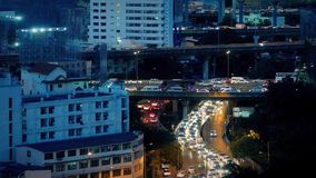 Large Road System With Heavy Traffic At Night. Multiple highway roads in and out of city with lots of traffic in the evening stock video footage