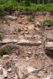 Large rock cliff eroded. Cliffs background, large rocks and slippery soils collapse from erosion, which can be dangerous Royalty Free Stock Images