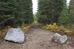 Large Rock Entrance to Hiking Trail Royalty Free Stock Photography