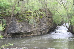 Large rock face near a river canyon. The river flows alongside a large stone wall in the forest Stock Photos