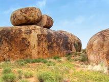 Large rock formations in Karlu Karlu, Devils Marbles Australia Royalty Free Stock Photos
