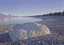 Large Rock with Mount Cook in background Stock Images