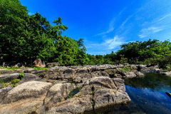 A large rock. Natural sources are called whitewater rapids orange cat Ratchaburi , Thailand Stock Photography