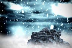 Large rock overlooking snowy sky. Digitally generated large rock overlooking snowy sky stock illustration