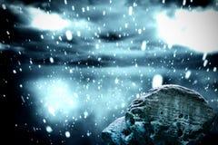 Large rock overlooking snowy sky. Digitally generated large rock overlooking snowy sky vector illustration