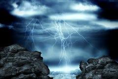 Large rock overlooking stormy sky. Digitally generated large rock overlooking stormy sky stock illustration