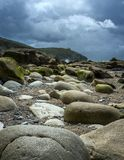 Large rocks on beach Royalty Free Stock Photography