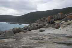 Large rocks in Blowholes sight in Torndirrup National Park near Albany. Western Australia Royalty Free Stock Images