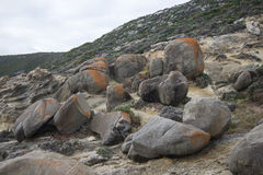 Large rocks in Blowholes sight in Torndirrup National Park near Albany Royalty Free Stock Photo