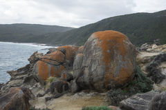 Large rocks in Blowholes sight in Torndirrup National Park near Albany Stock Images