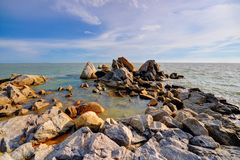 Large rocks on the coast of Malaysia Stock Photo