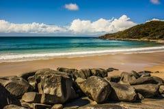 Empty Beach in Noosa, Australia stock images