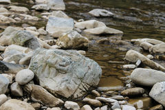 Large rocks in river water. Carpathians, Ukraine Royalty Free Stock Photo
