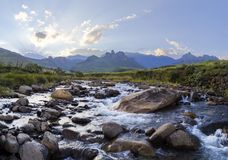 Large rocks in riverbed. Drakensberg South Africa royalty free stock photo