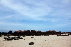 Rocks on the beach in the sea. Large rocks on the sand along the length of the beach Stock Image