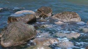 Large rocks on the seashore stock video footage