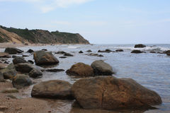 Large Rocks in Tide of Coast. Large Rocks in the Tide of Coastal Block Island Royalty Free Stock Photography