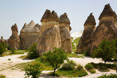 Large rocks with unusual shapes in Cappadocia Royalty Free Stock Photo