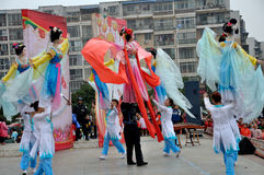 Large Rod Puppet Show on Lantern Festival Stock Image