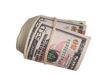 A large roll of 50 Dollar Bills. American Fifty Dollar Bills rolled up with a Rubber Band Stock Images
