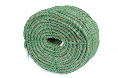 Large roll of green nylon rope on white background Stock Images