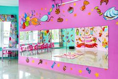 Large room for children`s parties. Large colorful room for children`s parties Royalty Free Stock Photos
