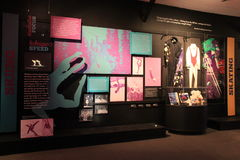 Large room with Exhibit of how skating and skiing intertwine with dance, National Dance Museum, Saratoga, Springs, New York, 2016 Stock Photo