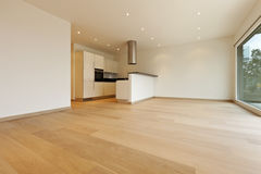 Large room with kitchen Stock Photos
