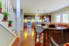 Large room with kitchen, dining room. stock images