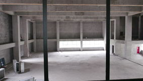 Large Room in Pre Renovation Construction Site stock video footage