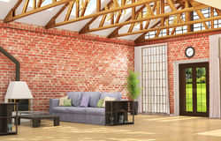 Large room in the style of a loft, Stock Images