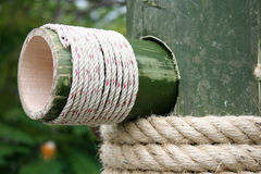 Large rope on bamboo wood Stock Image