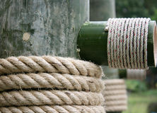Large rope on bamboo wood Stock Images