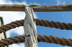 Large ropes , stones and walls and blue sky Royalty Free Stock Image