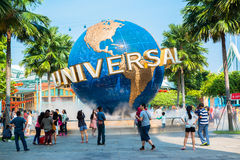 Large rotating globe fountain in front of Universal Studios stock photo