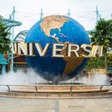Large rotating globe fountain in front of Universal Studios Royalty Free Stock Images